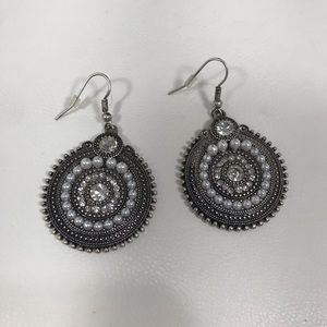 Silver Tone Pearl/Crystal Medallion Earrings